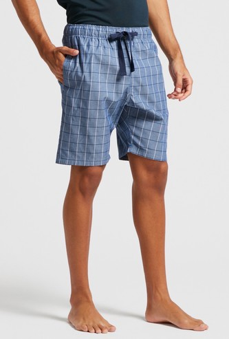 Checked Lounge Shorts with Drawstring Closure