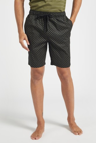 All-Over Print Shorts with Pocket Detail and Drawstring Closure