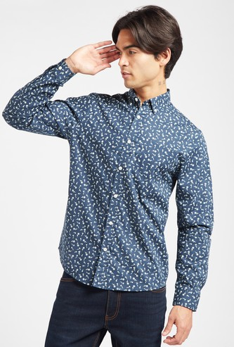 All-Over Floral Print Shirt with Spread Collar and Long Sleeves
