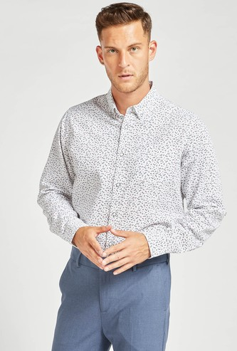 Ditsy Floral Print Regular Fit Collared Shirt with Long Sleeves