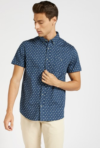 All-Over Print Shirt with Button Down Collar and Short Sleeves
