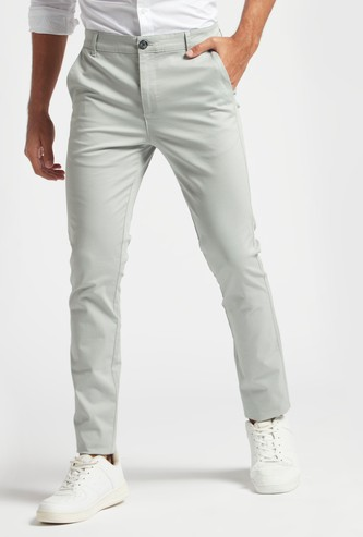 Skinny Fit Solid Chinos with Pockets and Button Closure