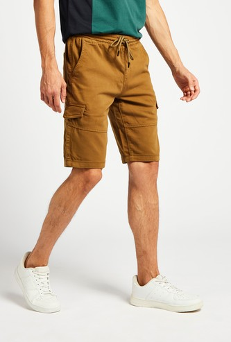 Solid Mid-Rise Cargo Shorts with Pockets and Drawstring Closure