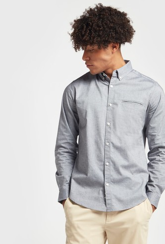 Solid Oxford Shirt with Long Sleeves and Button-Down Collar