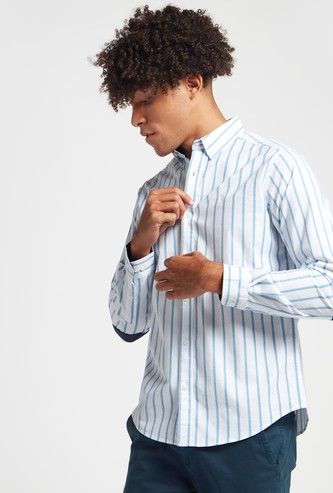 Striped Shirt with Long Sleeves and Elbow Patch