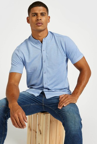 Solid Button Up Shirt with Mandarin Collar and Short Sleeves