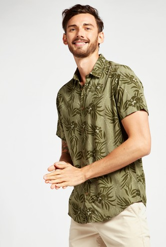 Floral Print Shirt with Short Sleeves and Collar