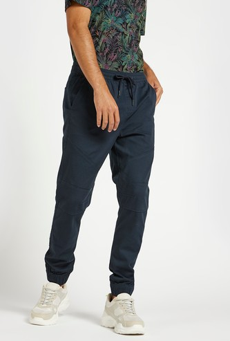 Slim Fit Solid Jog Pants with Pocket Detail and Drawstring Closure
