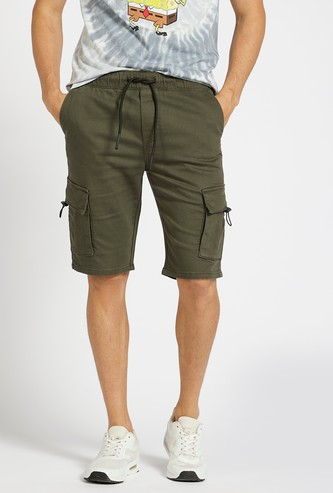 Solid Knee Length Cargo Shorts with Drawstring Closure