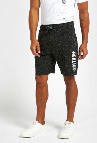 Side Print Shorts with Zipper Pockets and Drawstring Closure