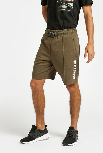 Slim Fit Text Print Shorts with Pocket Detail and Drawstring Closure