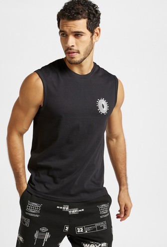 Graphic Print Sleeveless T-shirt with Round Neck