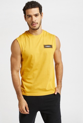Solid Sleeveless T-shirt with Round Neck