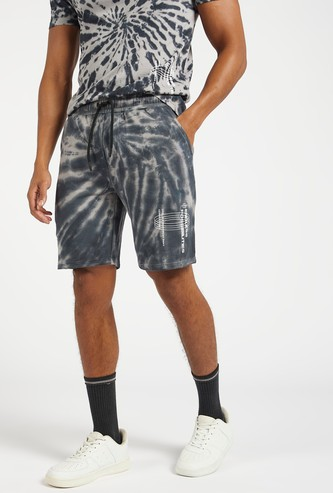 Slim-Fit Tie-Dye Print Shorts with Pockets and Drawstring