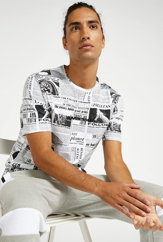 All-Over Graphic Print T-shirt with Round Neck and Short Sleeves