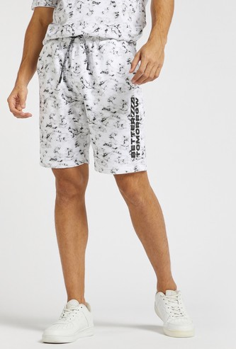 Marble Print Shorts with Elasticated Drawstring Waist and Pockets