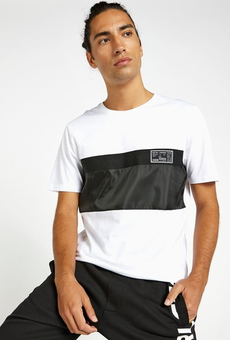 Panelled T-shirt with Round Neck and Short Sleeves