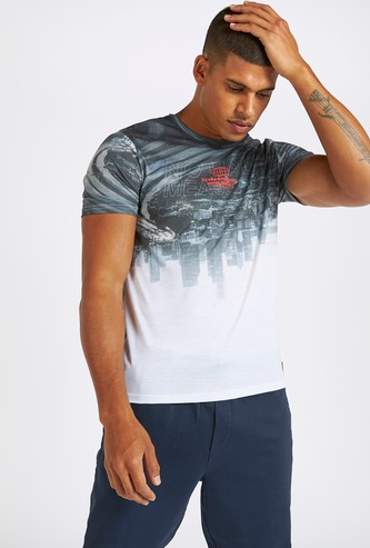 Sublimation Graphic Print Round Neck T-shirt with Short Sleeves