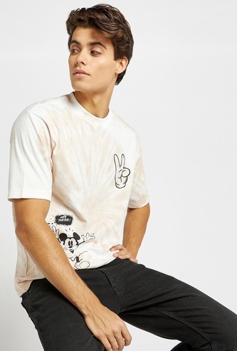Mickey Mouse Tie Dye Oversized T-shirt with Short Sleeves