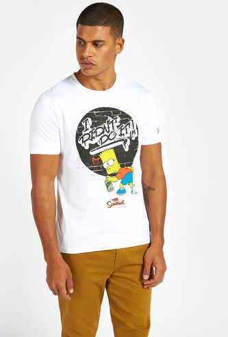 The Simpsons Graphic Print T-shirt with Round Neck and Short Sleeves