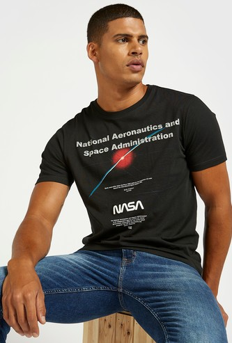 NASA Graphic Print T-shirt with Round Neck and Short Sleeves