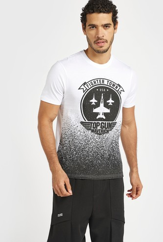 Slim Fit Top Gun Graphic Print T-shirt with Crew Neck