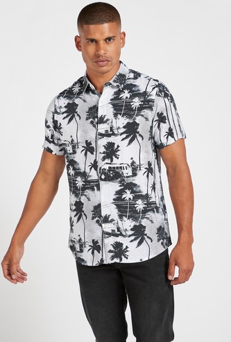 Slim Fit All-Over Camping Print Shirt with Spread Collar