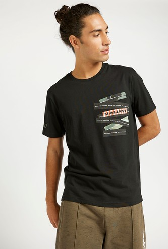 Graphic Transfer Print Crew Neck T-shirt with Short Sleeves