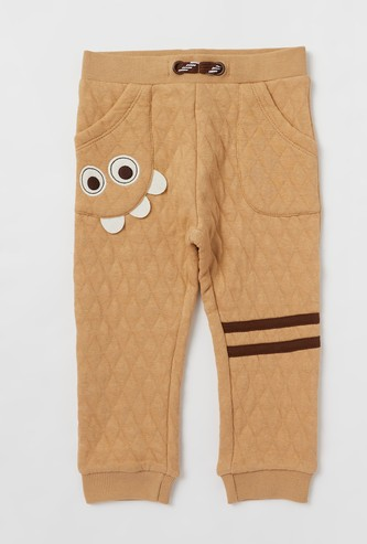 Textured Mid-Rise Jog Pants with Applique Detail and Pockets