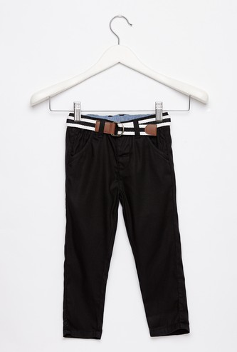 Full Length Textured Trousers with Belt and Pocket Detail