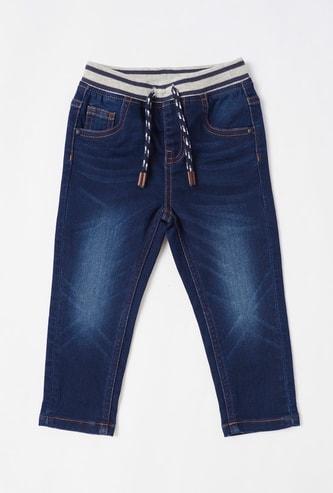 بنطلون جينز سادة بخصر مطاطي ورباط