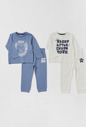 Set of 2 - Printed Round Neck T-shirt and Full Length Pyjamas