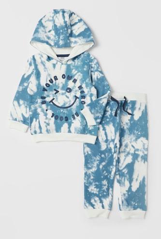 Tie-Dye Printed Sweatshirt with Jog Pants