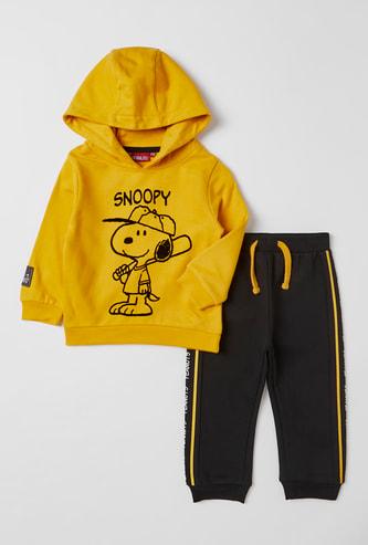 Snoopy Print Hooded Sweatshirt and Full Length Jog Pants Set