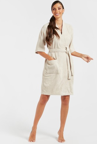 Textured Bathrobe with Pockets and Tie-Up Belt