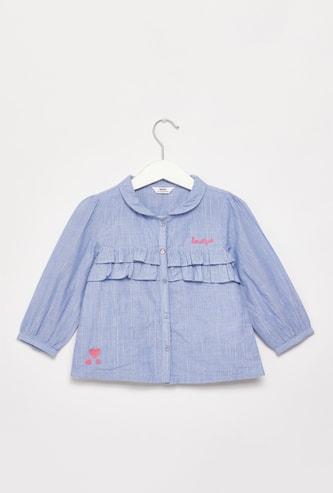 قميص بارز الملمس بأكمام طويلة وتفاصيل كشكش