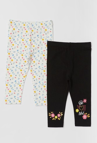 Pack of 2 - Full Length Printed Leggings with Elasticised Waistband