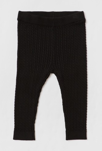 Textured Mid-Rise Knit Leggings with Elasticated Waistband