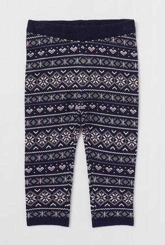 Full Length Intarsia Sweater Leggings with Elasticated Waistband