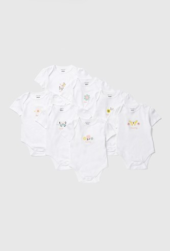 Set of 7 - Printed Bodysuit with Round Neck and Cap Sleeves