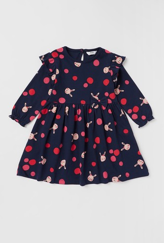 All-Over Printed Round Neck Dress with Frill Detail and Long Sleeves
