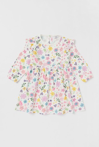 All-Over Print Dress with Long Sleeves and Ruffle Detail