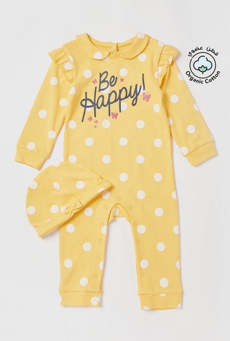 Polka Dot Print Sleepsuit with Bow Detail Cap