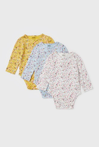 Set of 3 - Floral Print Bodysuit with Long Sleeves