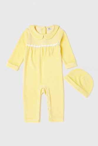 Textured Peter Pan Collared Sleepsuit with Cap
