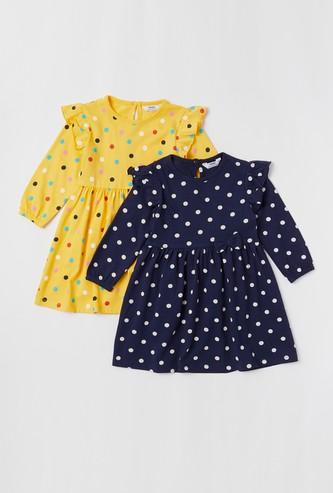 Set of 2 - All-Over Polka Dot Print Dress with Long Sleeves and Bow Applique