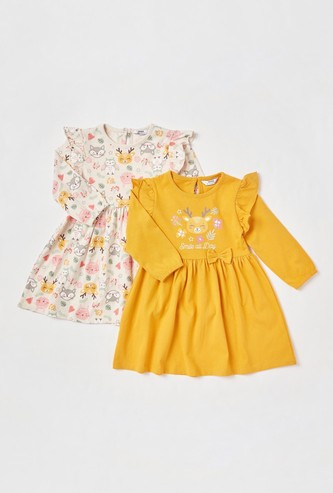 Set of 2 - Assorted Dress with Long Sleeves and Bow Applique