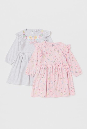 Set of 2 - All-Over Floral Print Dress with Long Sleeves and Bow Applique
