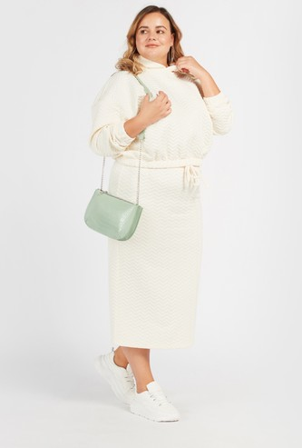 Quilted Midi Length Skirt with Elasticated Drawstring Closure