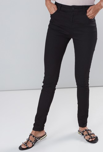 Skinny Fit High Rise Full Length Jeans with Pocket Detail